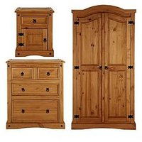 Corona 3-Piece Bedroom Furniture Set - Wardrobe, 2 + 2 Drawer Chest And Bedside Cabinet