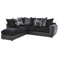 Monico Left Hand Single Arm Scatter Back Corner Chaise Sofa + Footstool