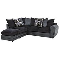 Product photograph showing Monico Left Hand Single Arm Scatter Back Corner Chaise Sofa Footstool