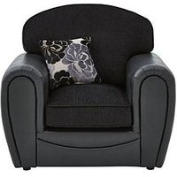 Monico Floral Fabric And Faux Snakeskin Armchair