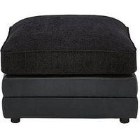Product photograph showing Monico Fabric And Faux Snakeskin Footstool
