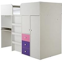 Kidspace New Metro Mid Sleeper Bed with Built-in Desk and Storage - Mid Sleeper With Standard Mattress, White/Purple/Pink