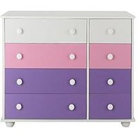 Kidspace New Metro 4 + 4 Chest of Drawers, White/Purple/Pink