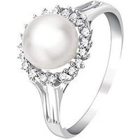 Love DIAMOND 9 Carat White Gold 14 Point Diamond And Cultured Pearl Ring, Size S, Women
