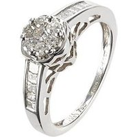 Love DIAMOND 18 Carat White Gold 50 Point Brilliant Cut and Square Cut Diamond Ring, Size V, Women