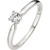 Love DIAMOND 18 Carat White Gold Certified 25pt Diamond Solitaire Ring, Size T, Women