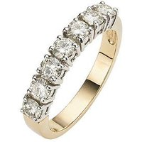 Moissanite 9 Carat Yellow Gold 1 Carat 7 Stone Eternity Ring, Size S, Women