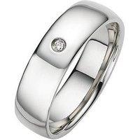Love DIAMOND Palladium Diamond Set Heavyweight Wedding Band - 6mm, Size V, Women