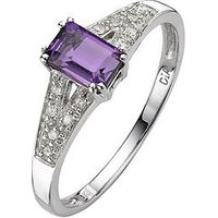 Love GEM 9 Carat White Gold 6pt Diamond And Amethyst Ring, Size Q, Women