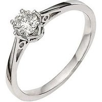 Love DIAMOND 9 Carat White Gold 25pt Diamond Solitaire Ring, Size R, Women