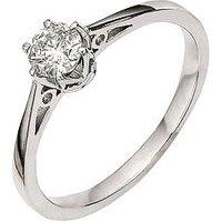 Love DIAMOND 9 Carat White Gold 25pt Diamond Solitaire Ring, Size J, Women