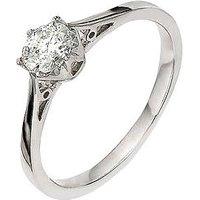 Love DIAMOND 9 Carat White Gold 50pt Diamond Solitaire Ring, Size M, Women