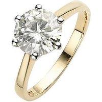 Moissanite Moissanite 9 Carat Yellow Gold 2 Carat Solitaire Ring, Size X, Women