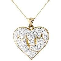 Keepsafe 9 Carat Yellow Gold Crystal Set Mum Pendant, Women