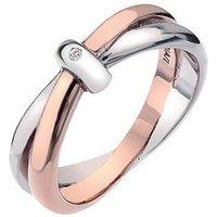 Hot Diamonds Eternity Sterling Silver and 18 Carat Gold Vermeil Diamond Set Interlocking Ring, Size Q, Women
