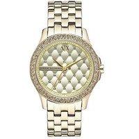 Armani Exchange Gold Dial Gold Ip Plated Bracelet Ladies Watch, Women