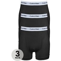 Calvin Klein Mens Core Trunks (3 Pack) - Black, Black, Size L, Men