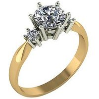 Moissanite 1.16 Carat Moissanite 9 Carat Yellow Gold Solitaire Ring with Stone Set Shoulders, Size N, Women