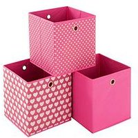 Ideal Hearts Set of 3 Kids Storage Boxes, Pink