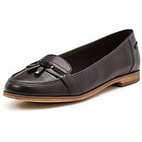 Clarks Angelica Crush Flat Shoes - Black Leather, Black Leather, Size 3, Women