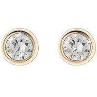 Love Gem 9 Carat Yellow Gold 5 Mm Round Cubic Zirconia Rubover Stud Earrings, Women