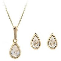 Love Gold 9 Carat Yellow Gold Pear Shaped Earring And Pendant Birthstone Set - April, Women