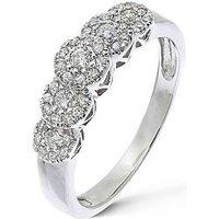 Love DIAMOND 9 Carat White Gold, 35 Point 5 Cluster Eternity Ring, Size O, Women