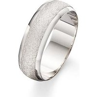 Love GOLD 9 Carat White Gold Patterned Wedding Band 7mm, Size Y, Women
