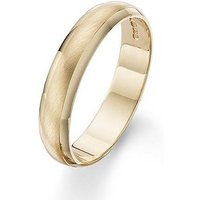 Love GOLD 9 Carat Yellow Gold 4mm Matt and Polished Wedding Band, Size L, Women