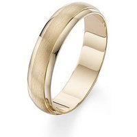 Love GOLD 9 Carat Yellow Gold 6mm Matt and Polished Wedding Band, Size R, Women