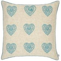 Catherine Lansfield Vintage Hearts Cushion In Duck Egg