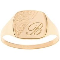 Love GOLD Personalised 9 Carat Yellow Gold Half Engraved Ring, Size P, Women