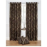 Metallic Swirl Printed Eyelet Curtains