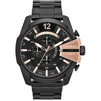 Diesel Mega Chief Chronograph Black And Rose Gold Dial With Stainless Black Ip Bracelet Mens Watch, Men