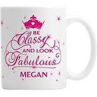 Personalised Classy And Fabulous Mug, Women