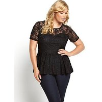 V by Very Curve Lace Peplum Top, Black, Size 26, Women