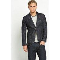 BOSS Bolds Denim Textured Blazer - Denim, Denim, Size 44, Men