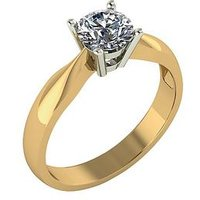 Moissanite 9-Carat Yellow Gold, 75 Point Solitaire Ring, Size S, Women