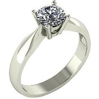 Moissanite 9 Carat White Gold 75 Point Solitaire Ring, Size I, Women