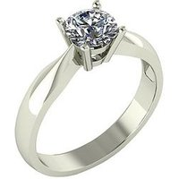 Moissanite 9 Carat White Gold 75 Point Solitaire Ring, Size H, Women