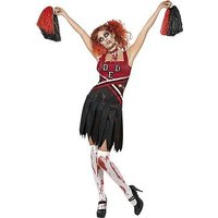 Halloween Zombie Cheerleader and Bloody Stockings - Adult Costume, Size S, Women