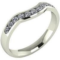 Moissanite 9 Carat Gold 33pt Channel Set Shaped Wedding Ring, White Gold, Size L, Women