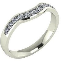 Moissanite 9 Carat Gold 33pt Channel Set Shaped Wedding Ring, White Gold, Size K, Women