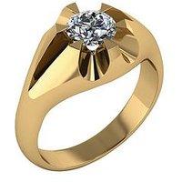 Moissanite 9 Carat Gold Mens Ring, Yellow Gold, Size X, Men