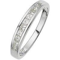 Love DIAMOND 18-Carat White Gold 50 Point Princess Cut Diamond Half Eternity Ring, Size O, Women