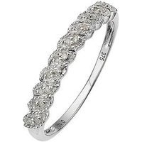 Love DIAMOND 9 Carat White Gold Diamond Half Eternity Ring, Size N, Women