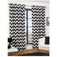 Hamilton Mcbride Chevron Printed Lined Eyelet Curtains