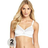 Playtex Lace Soft Cup Bras (2 Pack), Black/White, Size 42C, Women