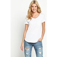 V by Very V-Neck Perfect T-Shirt, White, Size 8, Women