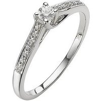 The Astral Diamond 9 Carat White Gold 20 Point Solitaire Ring With Stone Set Shoulders, Size M, Women